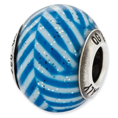 Sterling Silver Reflections Italian Blue Stripes With Glitter Glass Bead Charm - JewelryWeb