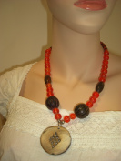 Goethnic Handmade Necklace With Round Wooden Pendant Wooden Pearl Metal And Wooden Beads Tribal Art Item