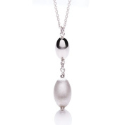 Silver and rhodium satin and polished finish oval bead drop pendant necklace 43cm
