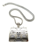"""Hot Celebrity Style Shiny Silver Boombox Pendant w/4mm 36"""" Franco Chain Necklace MP889R"""