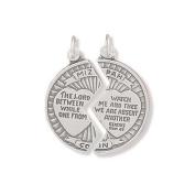 Sterling Silver Mizpah Break Apart Coin Charm Measures 25mm In Diameter - JewelryWeb