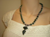 Goethnic Handmade Gemstone And Metal Necklace With Big Pendant Green Gemstones