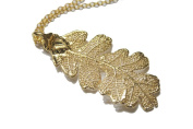 Real Oak leaf gold pendant necklace
