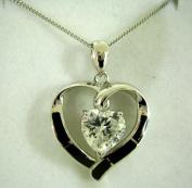 Enamel Heart Cubic Zirconia Pendant, 46cm chain, Sterling Silver, Zilver Designs SP1860
