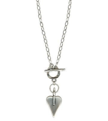 Danon pewter link necklace dipped in Stirling Silver with a silver pointed heart pendant