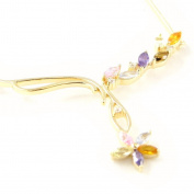 """Necklace plated gold """"Scarlett"""" multicoloured."""