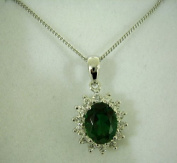 Emerald Oval with Cubic Zirconia Pendant, 46cm chain, Sterling Silver, Zilver Designs SP1819
