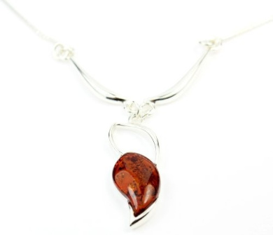 Lovely 925 Sterling Silver & Baltic Amber Designer Necklace AC903