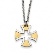 Black Bow Jewellery Company : Stainless Steel and Gold Maltese Cross Necklace - 46cm