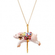 Porcelain pig pendant/handmade and handpainted with 24K gold, silver and colour, embellished with. crystal detail, come with 70cm gold plated necklace