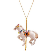 Porcelain horse pendant/handmade and handpainted with 24K gold, silver and colour, embellished with. crystal detail, come with 70cm gold plated necklace