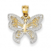 14ct and Rhodium Butterfly Charm - JewelryWeb