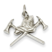 14ct White Gold Fire Department Charm - JewelryWeb