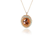 Evatini Italian Faceted Brown Topaz and. Stones Pendant Necklace / Handmade in Italy