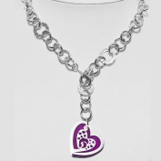 Fashion necklance rhodium plated 925sterling silver with heart with plexiglass purple, 50 cm Toggle claps