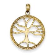14ct Tree Of Life In Round Frame Pendant - JewelryWeb