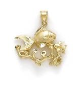 14ct Goldfish Created Coral Pendant - JewelryWeb