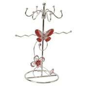 Red Butterfly and Crystals Jewellery Holder