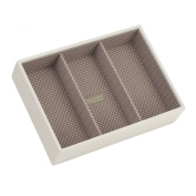 STACKERS 'CLASSIC SIZE' - New for 2013 - Vanilla Cream Deep 3 Section STACKER Jewellery Box with Mocha Spot Lining.