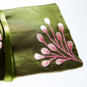 Silk Jewellery Roll, Fairtrade, Sage Green Silk with Embroidery