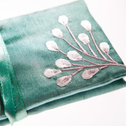 Silk Jewellery Roll, Emerald Green Silk with Embroidery, Fairtrade