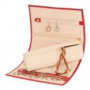 Red Bonded Leather Jewellery Roll