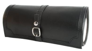 Black Bonded Leather Jewellery Roll