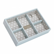 STACKERS 'MINI SIZE' Duck Egg Blue 5 Section STACKER Jewellery Box with Grey Polka Dot Lining.