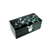 Mother of pearl lacquer wooden jewellery box, jewellery case with mirror, handmade gift, black cherry blossom & birds