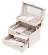 Davidt's Euclide Beige Rectangular Lockable Auto Tray Jewellery Box