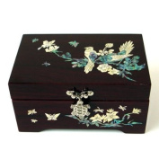 Mother of Pearl Inlay Wooden Bird Tree Design Jewellery Case Holder Trinket Keepsake Treasure Gift Box Chest Organiser