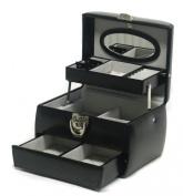 Davidt's Chrome Range Leather Auto Opening Jewel Box in Black