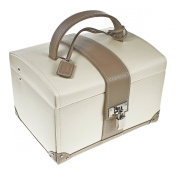"Premium Quality Dulwich Designs Cream & Mink Real Leather Medium Size Jewellery Box "" Cannes Collection "" 70062"