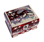 Wooden jewellery box, handmade mother of pearl gift, Red cranes