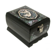 Wooden mother of pearl musical jewellery box with mirror, lacquer jewellery case, black crane handmade gift