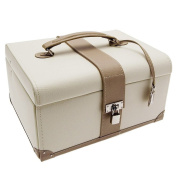 "Extra Large Mink and Cream Genuine Leather Jewellery box by Dulwich Designs 177950cm Cannes Collection "" CHRISTMAS SPECIAL"