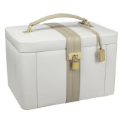 Dulwich Designs NEW Two Tone Collection Luxurious Cream Leather Jewellery Box - Extra Large - 71021