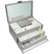 Dulwich Designs Pretty Extra Large Mink Leather Ladies Jewellery Box