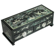 Wooden jewellery box with drawers, lacquer wood jewellery case, handmade mother of pearl gift, pine and cranes