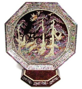 Wooden Octagonal display tray with base, handmade mother of pearl gift for home, Red cranes
