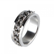 Men's Stainless Steel Curb Chain Band Ring UK Size