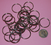 Pack of 25 - 25mm Round Silver Colour - Double Loop Split Ring for Keyrings and Craft Making