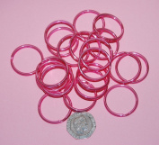 Pack of 25 - 25mm Round Pink - Double Loop Split Ring for Keyrings and Craft Making
