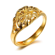 JewelryWe New Women's Gold Plated Flower Open Ring Band for Promise, Eternity, Engagement and Wedding Adjustable Size J - Z+3