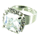 Clear Crystal on Silver Plated Square Solitaire Cocktail Ring