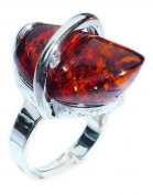 Cognac amber Steel Ring