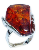 Cognac amber resin Steel Ring