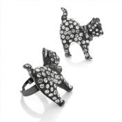 Divadoo Adjustable Crystal Cat Ring