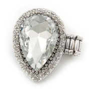'Drama Queen' Drop-Shaped Crystal Cluster Ring (Silver Tone) - Adjustable size 7/8