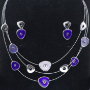 Divadoo Purple and Silver Fashion Necklace and Earring Set